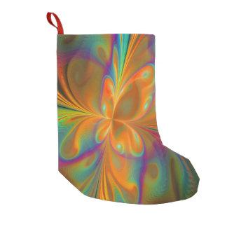 抽象的で鮮やかなフラクタルの蝶 スモールクリスマスストッキング