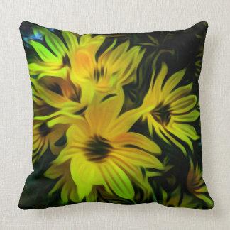 抽象的で黄色い花の装飾用クッション クッション