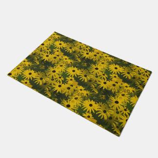 抽象的で黄色い花模様 + あなたのアイディア ドアマット