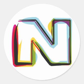 抽象的で、多彩な手紙N ラウンドシール