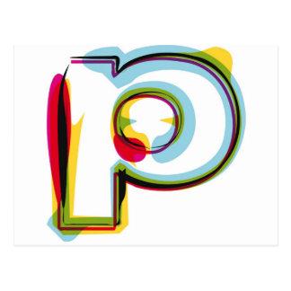 抽象的で、多彩な手紙p ポストカード