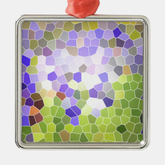 抽象的なアイリスステンドグラスの花のバイオレットのモザイク メタルオーナメント