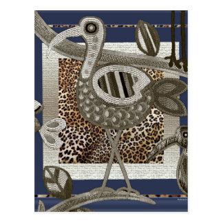 抽象的なアフリカのジャングルの鳥 ポストカード