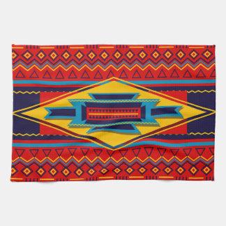 抽象的なアフリカ人のKenteの布パターン赤い黄色 キッチンタオル