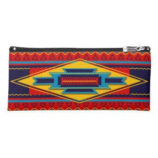 抽象的なアフリカ人のKenteの布パターン赤い黄色 ペンシルケース