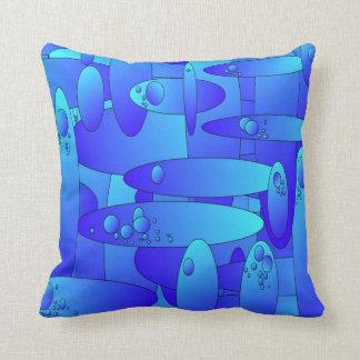 抽象的なアートワークの青か緑の楕円形の形のクッション クッション