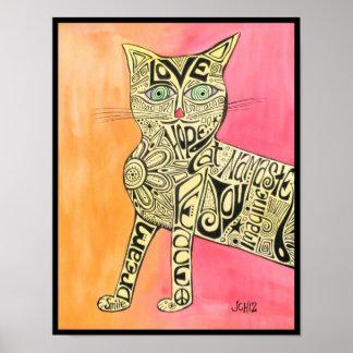 抽象的なインスピレーション猫ポスター ポスター