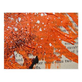 抽象的なオレンジペンキ ポストカード