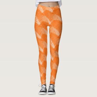 抽象的なオレンジラインモダンな白 レギンス