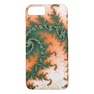 抽象的なオレンジ緑の渦巻 iPhone 7ケース