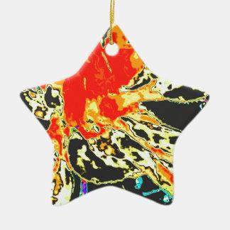 抽象的なオレンジ花のダリアの花模様 陶器製星型オーナメント
