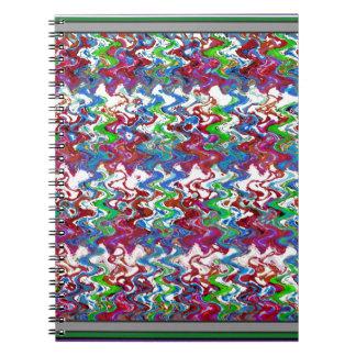 抽象的なカラフルのエンボスの踊りの波の芸術のギフト ノートブック