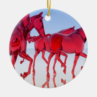 抽象的なガラス馬 セラミックオーナメント