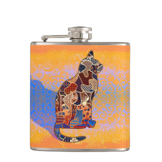 抽象的なコラージュClarice猫ID103 フラスク