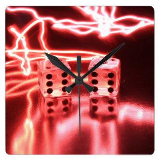 抽象的なサイコロ3 スクエア壁時計