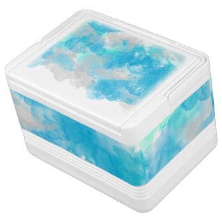 抽象的なターコイズの水彩画のしぶき イグルークーラーボックス