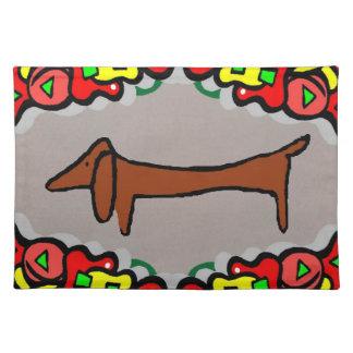 抽象的なダックスフント、ウィーナー犬 ランチョンマット