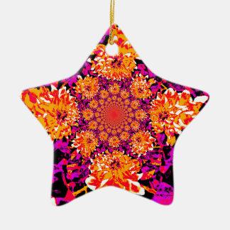 抽象的なダリア 陶器製星型オーナメント