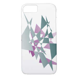 抽象的なティール(緑がかった色)および紫色の三角形のiPhone 7の箱 iPhone 8/7ケース