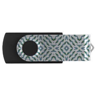 抽象的なティール(緑がかった色)の暗藍色の花の孔雀の羽 USBフラッシュドライブ