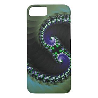 抽象的なデジタル暗い色の渦巻 iPhone 7ケース