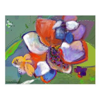 抽象的なデジタル花の   郵便はがき5 ポストカード