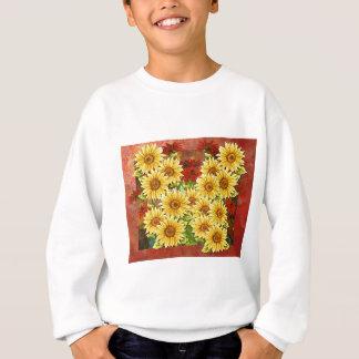 抽象的なデジタル黄色いヒマワリの花 スウェットシャツ