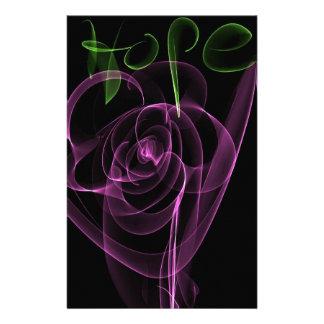 """抽象的なネオンピンクのバラの緑""""希望"""" 便箋"""
