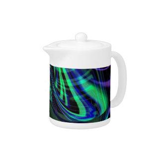 抽象的なネオン水Nの青の波
