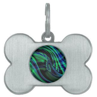 抽象的なネオン水Nの青の波 ペットネームタグ