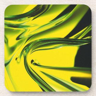 抽象的なネオン黄色および緑ガラスのコースター コースター