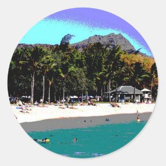 抽象的なハワイのビーチ ラウンドシール