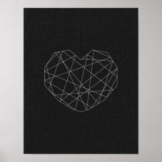 抽象的なハートのプリント。 白黒。 モダンな愛 ポスター