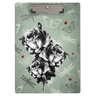 抽象的なバラ、蝶およびトンボ クリップボード