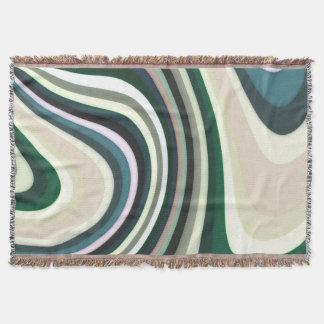 抽象的なパターンは緑の白いおよびクリーム色並べます スローブランケット