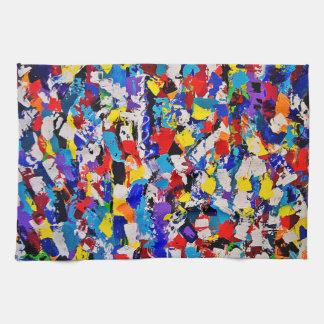 抽象的なパターン多彩でカラフルなペンキの軽打 キッチンタオル