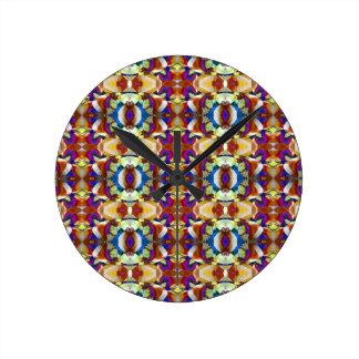 抽象的なパンジーの花のフラクタル ラウンド壁時計