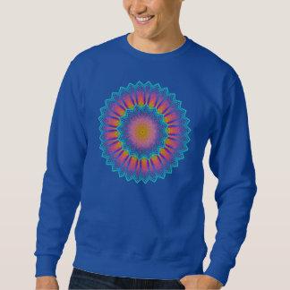 抽象的なヒマワリのフラクタルピクセル青 スウェットシャツ