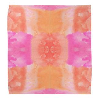抽象的なピンクのオレンジお洒落な水彩画 バンダナ