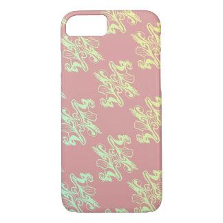 抽象的なピンクのモダンなダマスク織の質 iPhone 8/7ケース