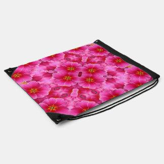 抽象的なピンクの蘭パターン ナップサック