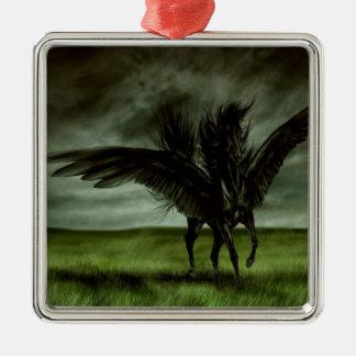 抽象的なファンタジーの悪魔の馬Pegassus シルバーカラー正方形オーナメント