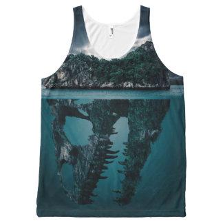 抽象的なファンタジーの芸術的な島 オールオーバープリントタンクトップ