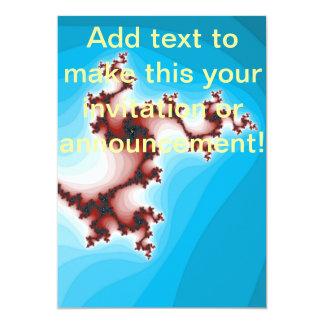 抽象的なフラクタルのあずき色の緩和の青 12.7 X 17.8 インビテーションカード