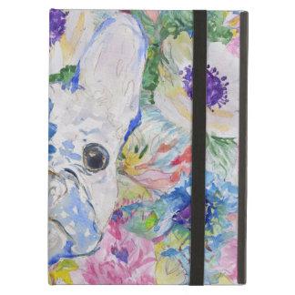 抽象的なフレンチ・ブルドッグの花の水彩画のペンキ