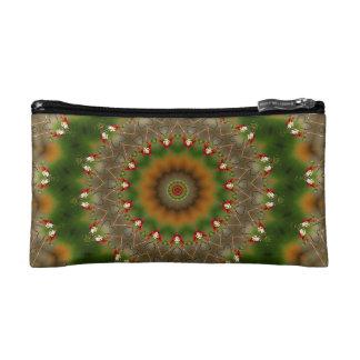 抽象的なブラウンおよび緑の万華鏡のように千変万化するパターンパターン コスメティックバッグ