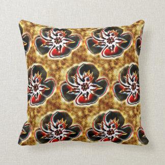 抽象的なブラウンの花柄の織り目加工の枕 クッション