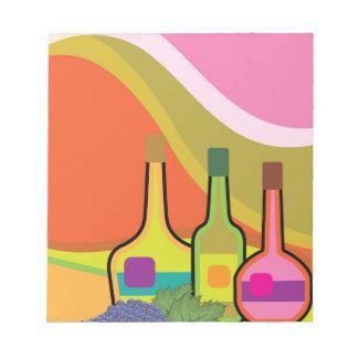 抽象的なボトルおよびブドウ ノートパッド