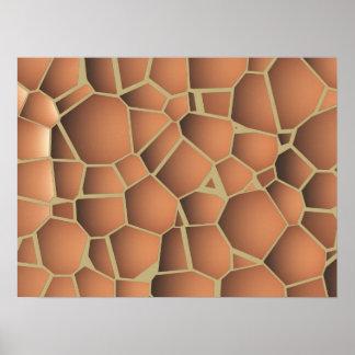 抽象的なモザイク床タイルのテラコッタオレンジ ポスター
