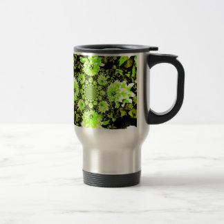 抽象的なライムグリーンのダリア トラベルマグ